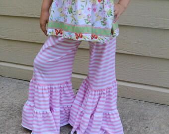 pink and white stripe double ruffle wide leg pants sizes 12m - 14 girls
