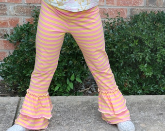 yellow and pink double ruffle leggings sizes 12m - 14 girls