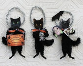 Black Cat Fortune Tellers Vintage Look Chenille Ornaments With Crystal Ball Ouija Board Tarot Cards