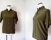 Vintage Shirt / 70's Silk Olive Blouse / French Fashion / FREE USA SHIPPING