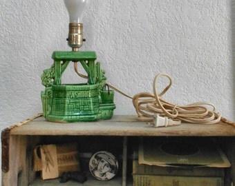 Vintage Green Ceramic Lamp Buckingham McCoy Wishing Well Planter