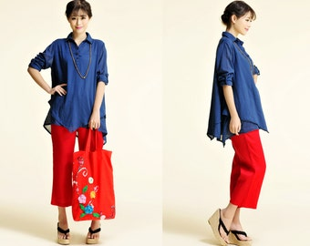 Fluid Lobelia/ Asian Style Two Layered  Linen blouse/private listing for kksuarez