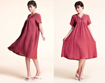 Peony / Free Style Linen Summer Dress With Folds/ Baby doll Pleated  Dress/ 27 Colors/ RAMIES