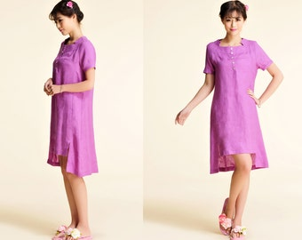 Rosebud /Lovely Asymmetrical Linen Summer Dress with Stitched Neckline / 28 Colors/ ANY SIZE/ RAMIES