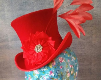 Red, Feathery Mini Top Hat. Burlesque, Steampunk, Bridal, Tea Party, Victoriana, Circus