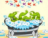 Crocodile Soup - limited edition - childrens art poster print - iOTA iLLUSTRATION