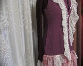 SALE Shabby Plum Vest, neckline ruffle lace, gypsy hippie bohemian, womens long vest refashioned romantic ,womens clothing