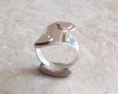 Sterling Bypass Ring Hearts Wrap Around Adjustable Taxco Mexico Vintage 052314BKH