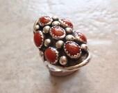 Red Coral Ring Sterling Silver Size 6-1/2 Large Oval Sawtooth Bezel Vintage 052314BKH