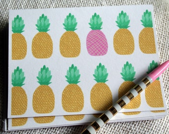 Illustrated Pink and Yellow Pineapple Stationery Set  - Set of 8 Folded Blank Cards and Envelopes
