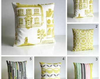 Accent Pillow Cover, 10x10 Pillow Cover, Cushion Cover, pillow sham, Houses, Circles, Stripes, Flowers - Mint and Citrus Collection