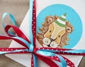 Peekaboo Party Animal Celebration Card: lion in green & white striped party hat on aqua - kids birthday welcome baby bamboo card