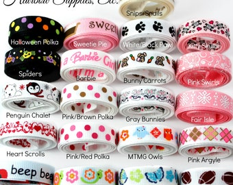 3/8 Printed Ribbon - Choose Style and Length - Hairbow Supplies, Etc.