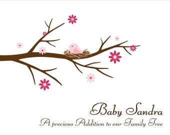 Baby Shower Guest Book Fingerprint Tree Personalized Baby Shower Guestbook, Thumbprint Branch Baby Birthday, Baptism- DIGITAL PRINTABLE JPEG