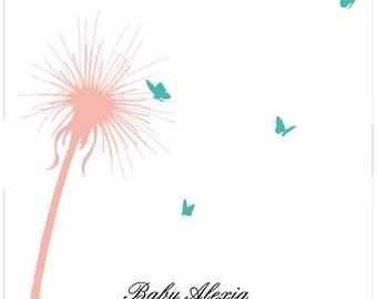 Baby Shower Guest Book Alternative Fingerprint Tree, Signature guestbook dandelion & butterflies, Personalized Gift - DIGITAL PRINTABLE JPEG