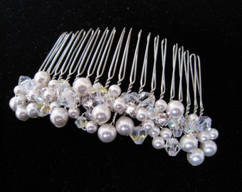 Swarovski Pearl and Rhinestone Bridal Special Occasion Hair Comb Head Piece or Tiara - LYNDSEY