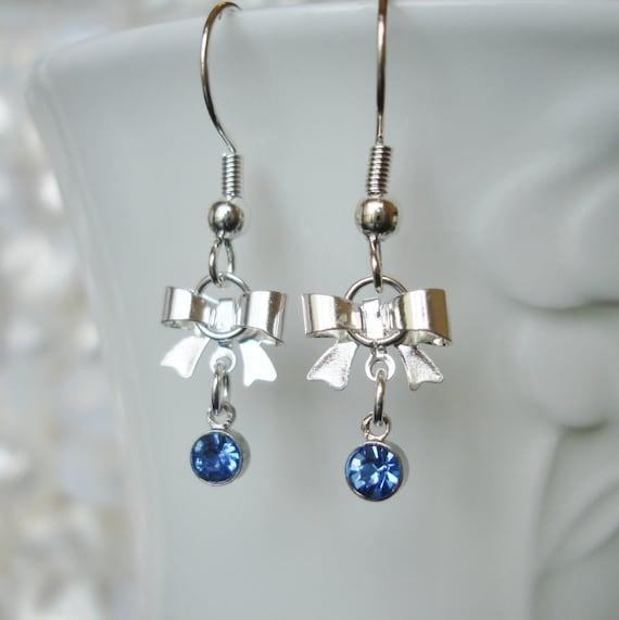 silver bow earring tiny rhinestone bow earring choose