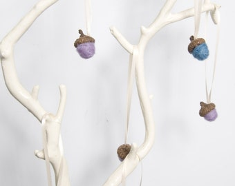 Small Needle Felted Acorn Ornaments in Lavender and Blue - Set of 6