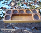 Vintage 100 Year Old 7 Hole Money Coin Change Dish & Wood Organizer Tray With Currency Holder