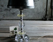 Vintage Lamp with Medallions and Glass Base