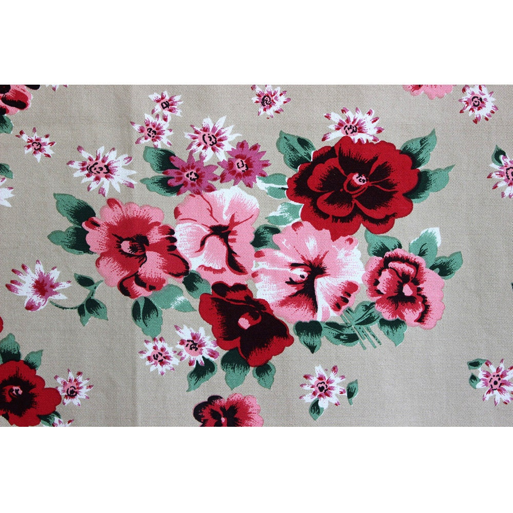 How to make a fabric table cover - Dark Beige N Crimson Roses Print Cotton Canvas Designer Fabric Upholstery Fabric Curtain Fabric Table Cloth Duck Canvas By The Yard