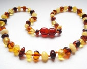 Baroque  Multicolored  BALTIC  AMBER   TEETHING  Necklace for your Baby. Handmade knotted. 13.8 inches.