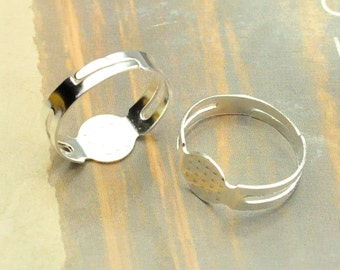 Ring,50pcs silver plated metal Adjustable Ring Base with 8mm Round Pad