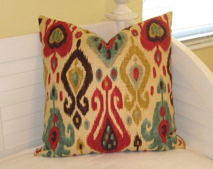 Django Ikat Design in Persian Pillow Cover - Square, Lumbar, Euro and Body Pillow Sizes