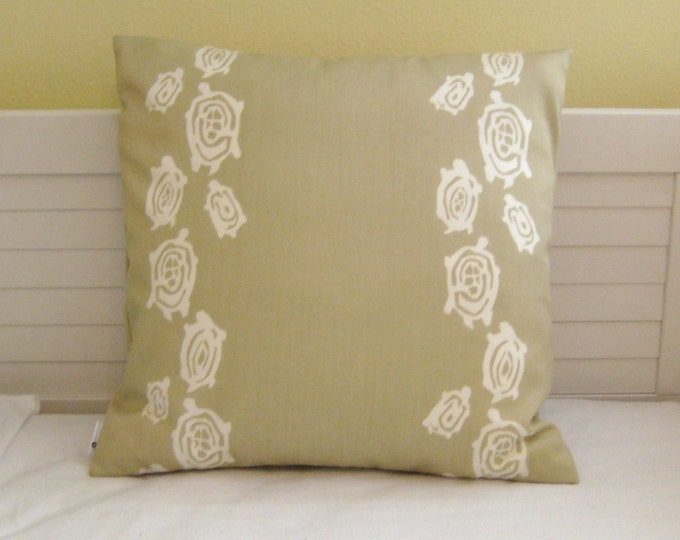 Windsor Smith for Kravet  - Kura Kura Sea Turtles in Sand Indoor Outdoor Designer Pillow Cover - Square and Lumbar Sizes