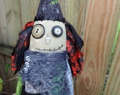 Halloween Witch Art Doll, OOAK Original Design, Mixed Media Halloween Witch, collectible, Hand printed Fabric Cloth, textile doll, HAFAIR
