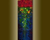 Modern Floral Red Roses Flower Oil Painting Textured Palette Knife Original Art 12X36 by Willson Lau