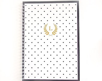 Personalized Notebook - Polka Dot Laurel Monogram