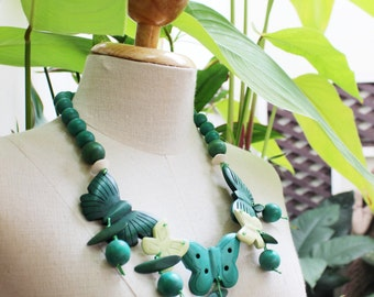 Coconut Shell Beads Necklace - CL1409-16