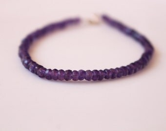 Amethyst Bracelet // Amethyst Faceted  Rondelle Bracelet //  Purple Gemstone Bracelet