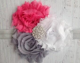 Shabby Chic Headband, Baby Girl Headband, Flower Headband, Baby Headbands