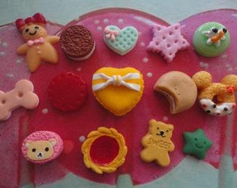 Kawaii decoden deco diy cabochon mix  #105 mini sweets  14 pcs---USA seller