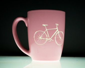 Bike- etched pink mug