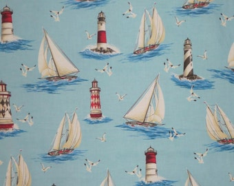 By the Sea Sailboat Print Pure Cotton Fabric--One Yard