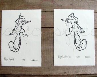 Squirrel Fight - Original Art - Two Hand Pressed Linoleum Cut