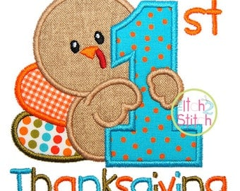 First Thanksgiving Applique,  Sizes 4x4, 5x5, 6x6 & 7x7 INSTANT DOWNLOAD available, shown with Tuesday font (NOT included)