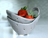 Pottery Berry Bowl with Handle - Small in Charcoal Gray - Ceramic Colander