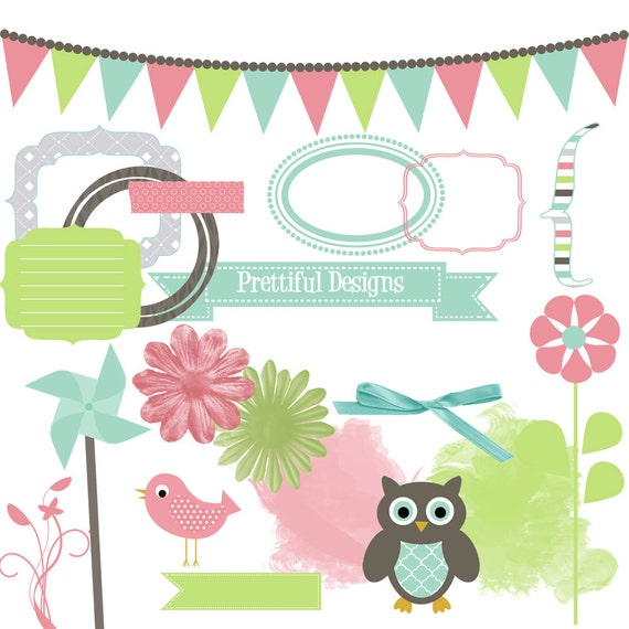 25% OFF SALE Digital Clip Art Frame Pinwheel Bird Owl Ribbon Banner Journaling Spot Spring Showers (826)