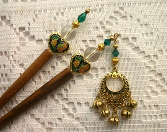 Wooden Hairsticks with Dangle and Bells