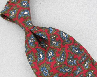Wembley Blue Red Floral Paisley Wide Silk 1970 1960 60's 70's Mens Rare Neck Tie Necktie Excellent #V-2