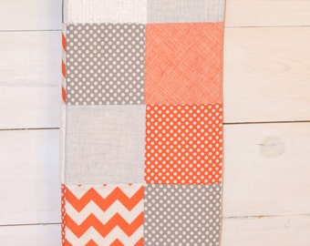Toddler/Crib Size Orange, Gray, White, Elephant or Fox - Patchwork Quilt Blanket -You Pick the Fabrics