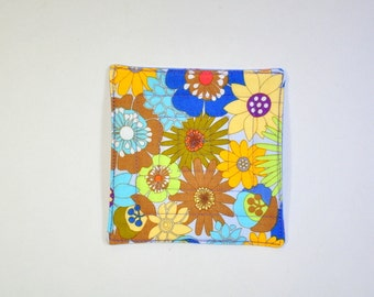 Fabric Coasters Set of 6 Mug Rug Bright Hippy Floral Modern flowers multi-color