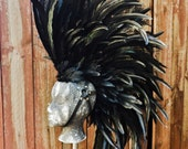 Black Warrior Feather Mohawk with head harness- Costume, Head Dress, Head Piece, Mad Max, Burning Man