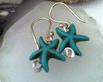 Starfish Earrings, Beaded Starfish