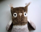 Pepa ( Penelopa) horned  owl  ,  soft art  creature toy  by   Wassupbrothers.unique teddy owl, soft friend, buho, boho, lacy sweet girl