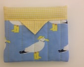 """Sea Gulls Quilted Fabric Mini Snap Bag 5"""" x 4-1/4"""""""